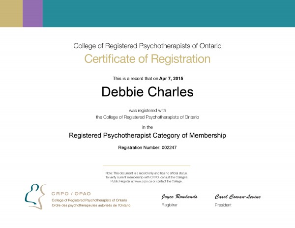Debbie Certificate